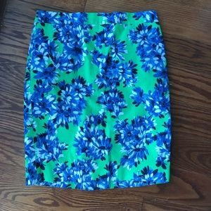J. Crew Factory Roz Floral Green Pencil Skirt
